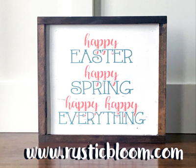 Framed Sign 12x12 - Happy Happy Everything