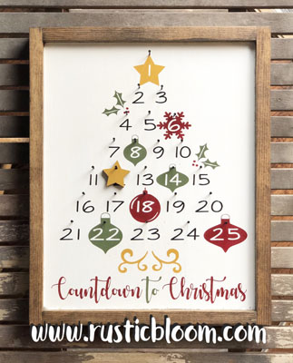 Framed Sign 13x16 - Countdown to Christmas