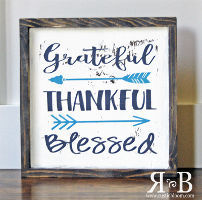 Framed Sign - Grateful Thankful Blessed