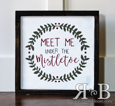Framed Sign - Meet Me under the Mistletoe