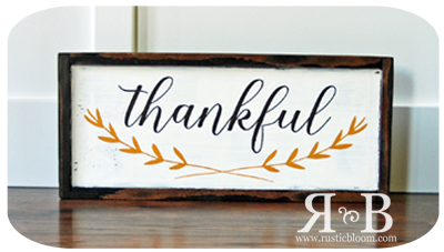 Framed Sign 20x9 - Thankful