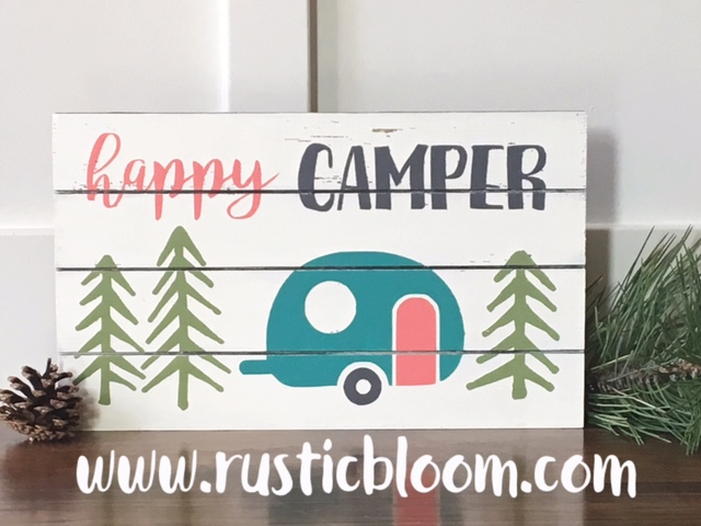 Slat Sign - Happy Camper