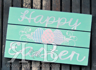 Slat Sign - Happy Easter Eggs