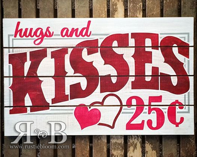 Slat Sign - Hugs and Kisses
