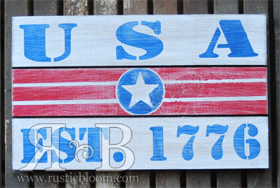 Slat Sign - USA Est 1776