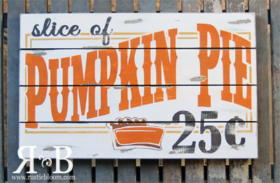 Slat Sign - Slice of Pumpkin Pie