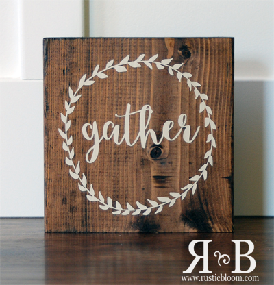 Vinyl Block - gather wreath
