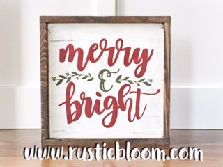 Framed Sign 14x14 - merry & bright