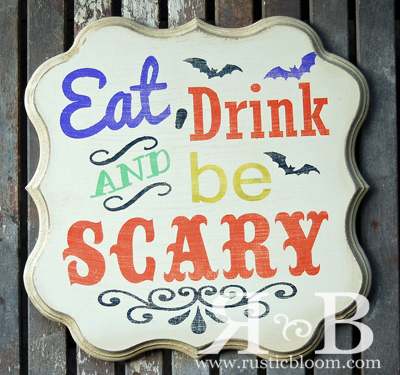Shaped Plaque - Eat, Drink and be Scary