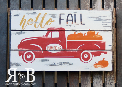 Slat Sign - hello FALL